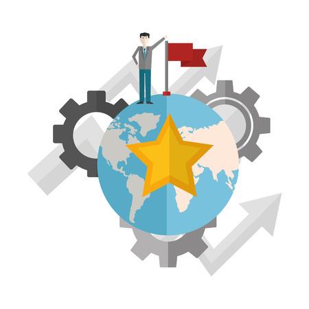 Businessman with flag on top world star engrenages flèches vector illustration Vecteurs