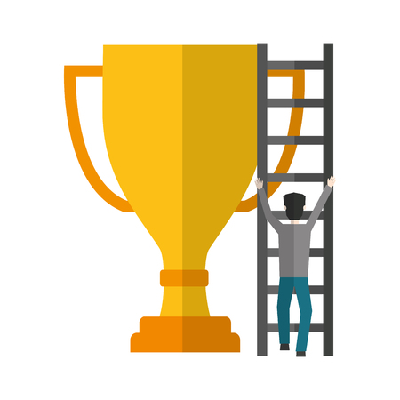 businessman climbs stairs big trophy award vector illustration Ilustração