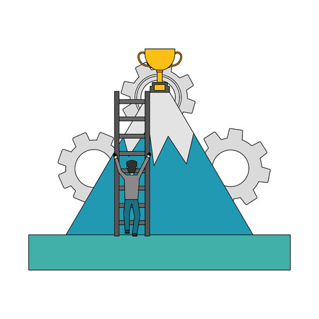 businessman climbing stairs mountain trophy success vector illustration 일러스트