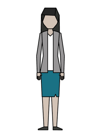 business woman character in skirt and jacket vector illustration