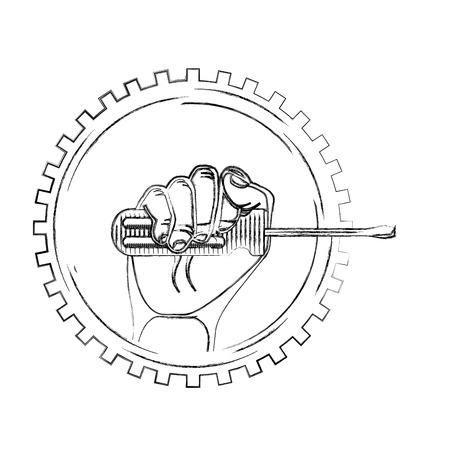 hand holding screwdriver on gear engine mechanical vector illustration vector illustration