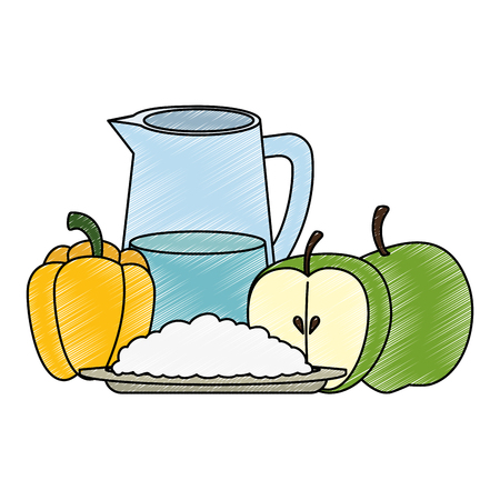 fresh fruits and vegetables with water jar vector illustration design
