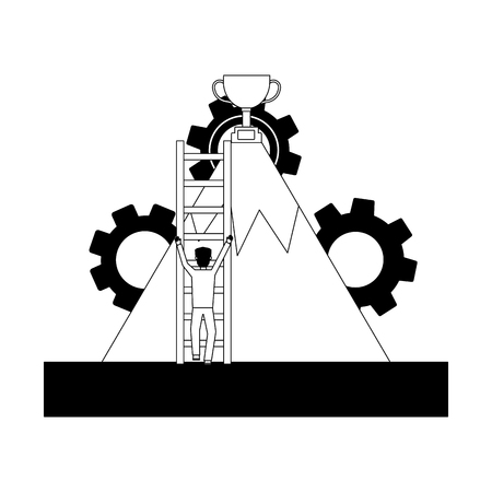 businessman climbing stairs mountain trophy success vector illustration 向量圖像