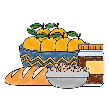 fresh oranges in bowl with healthy food vector illustration design Ilustração