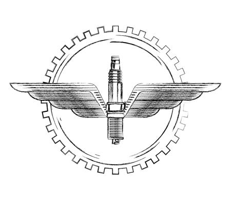 industria automobilistica candela di accensione ala ingranaggio emblema illustrazione vettoriale illustrazione vettoriale Vettoriali