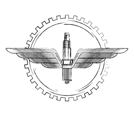 industry automotive spark plug wing gear emblem vector illustration vector illustration Illustration