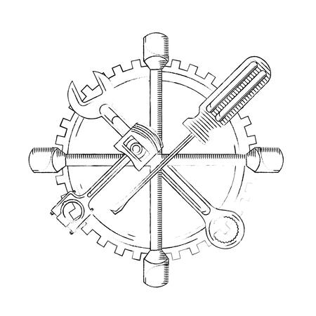 industry automotive tools wrench piston plug screwdriver gear vector illustration vector illustration