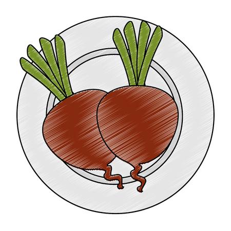 fresh beets in dish vegetarian food vector illustration design Stock Vector - 106559305