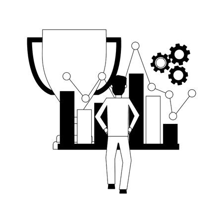 businessman trophy statistics chart and gears vector illustration
