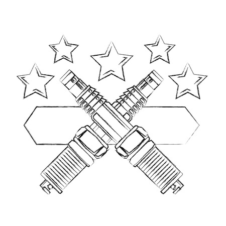 spare parts car industry spark plugs emblem vector illustration vector illustration