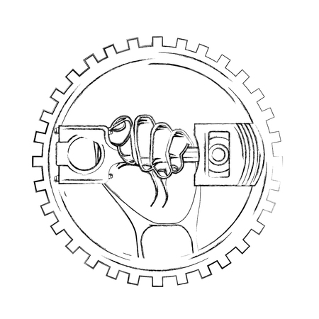 hand holding piston car industry on gear vector illustration vector illustration