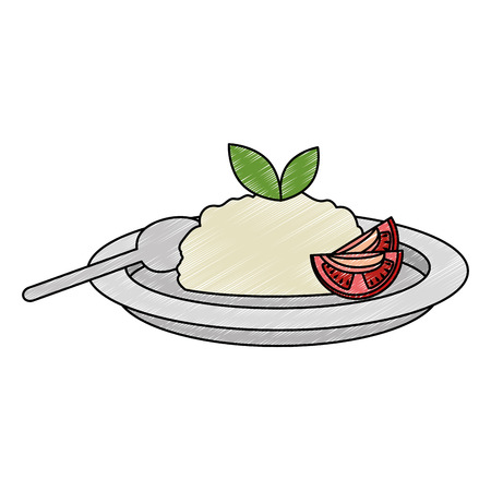 dish with rice and tomatoe vector illustration design Ilustração