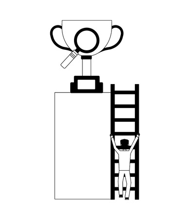 businessman climbs stairs with trophy and magnifying glass vector illustration