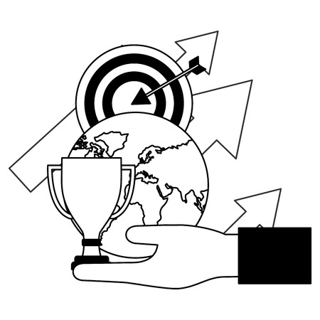 hand holding world trophy target arrows business vector illustration Stock Illustratie