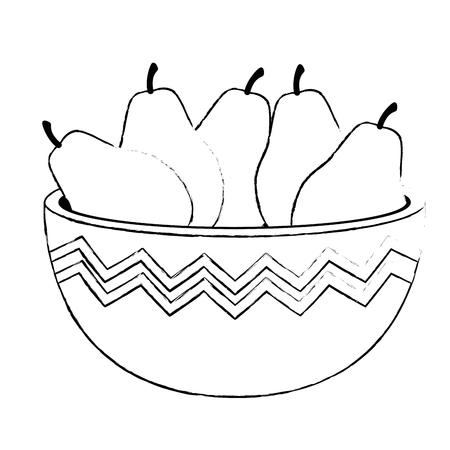 fresh pears in bowl healthy food vector illustration design Illustration