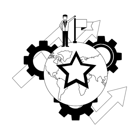 businessman with flag on top world star arrows gears vector illustration
