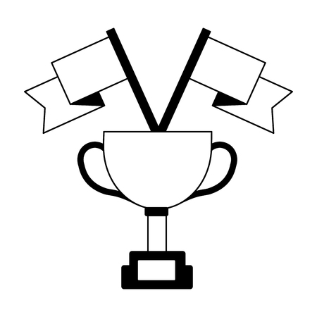 award trophy flags win champion vector illustration