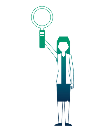 business woman raised hand with magnifying glass vector illustration neon design