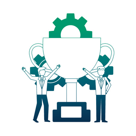 businessmen with trophy and gears work team vector illustration neon design Illustration