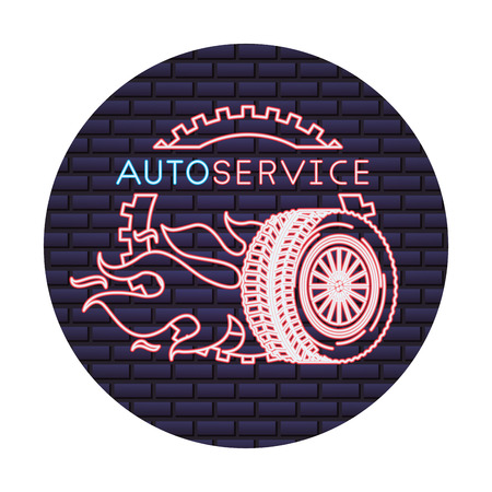 auto service wheel car gear fire engine repair vector illustration neon wall Illustration