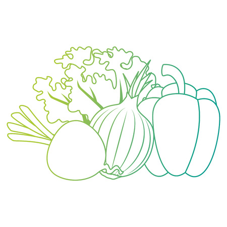 fresh pepper and vegetables vector illustration design