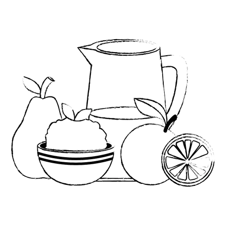 fresh fruits and rice with water jar vector illustration design Illustration