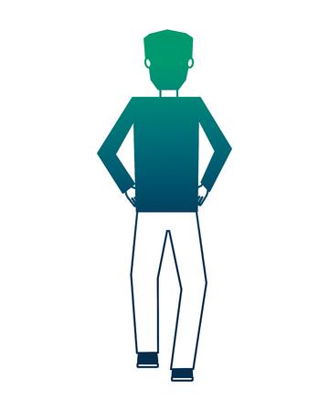 businessman back view character avatar vector illustration neon design