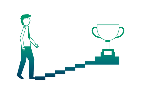 businessman climbs stairs with trophy on top vector illustration neon design 일러스트