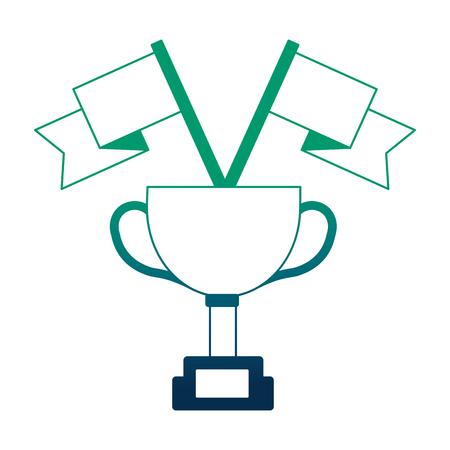 award trophy flags win vector illustration neon design Illustration