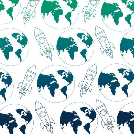world rocket spaceship adventure progress pattern vector illustration neon design Illustration