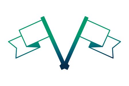 crossed flag progress success finish symbol vector illustration hand drawing vector illustration neon design Иллюстрация