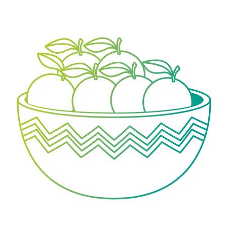 fresh oranges in bowl healthy food vector illustration design