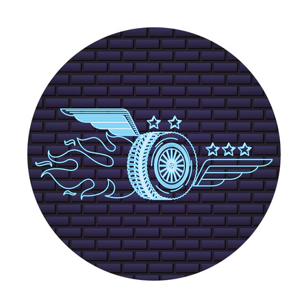 auto service wheel car wings flame fire emblem vector illustration neon wall