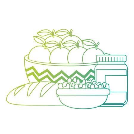 fresh oranges in bowl with healthy food vector illustration design Illustration