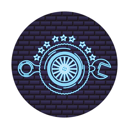 auto service wheel car wrench tool maintenance vector illustration neon wall