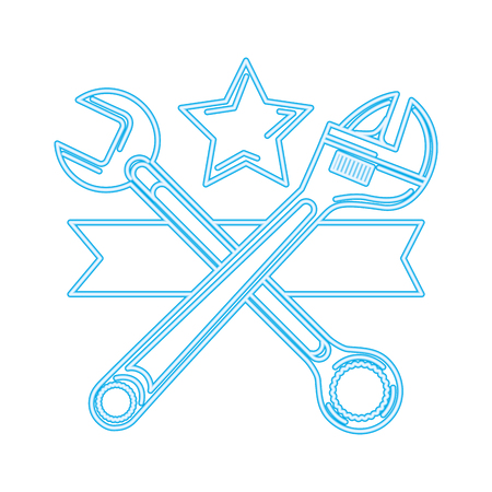 auto service adjustable wrench and spanner tools vector illustration neon
