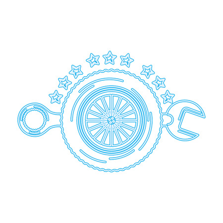 auto service wheel car wrench tool maintenance vector illustration neon