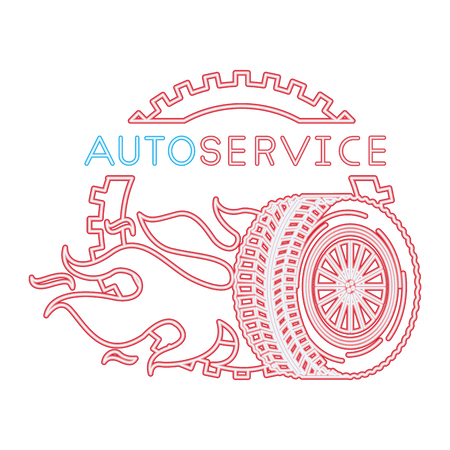 auto service wheel car gear fire engine repair vector illustration neon