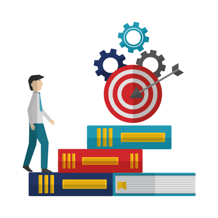 businessman with library books and target vector illustration design