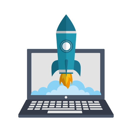 laptop computer with startup rocket isolated icon vector illustration design