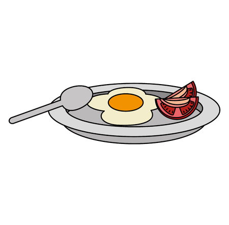 dish with egg fried and tomato vector illustration design Stockfoto - 106559435