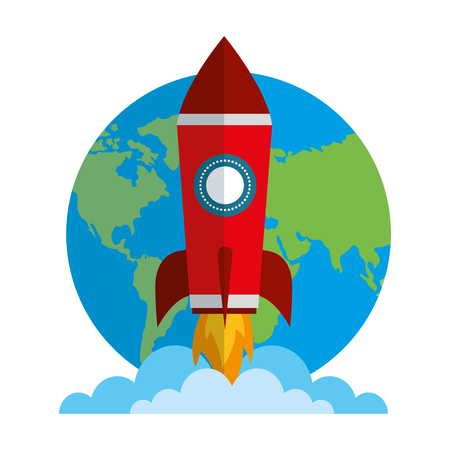 startup rocket with earth planet isolated icon vector illustration design