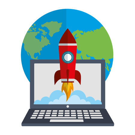 laptop computer with startup rocket and planet earth vector illustration design