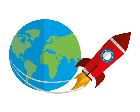 startup rocket with earth planet isolated icon vector illustration design Stock Illustratie
