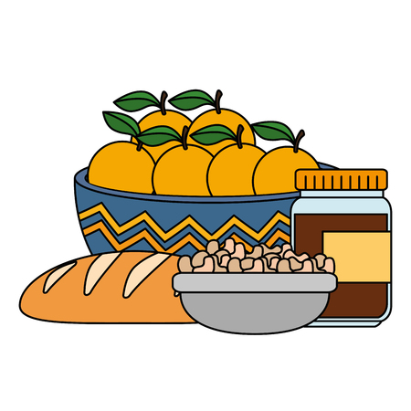 fresh oranges in bowl with healthy food vector illustration design Stock Illustratie