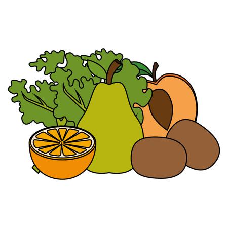 fresh fruits and vegetables healthy food vector illustration design
