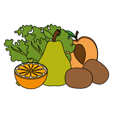 fresh fruits and vegetables healthy food vector illustration design