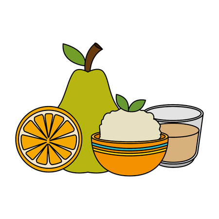 fresh fruits and rice vector illustration design