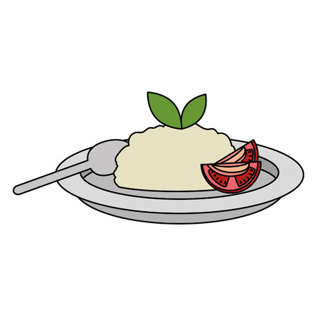 dish with rice and tomatoe vector illustration design Иллюстрация