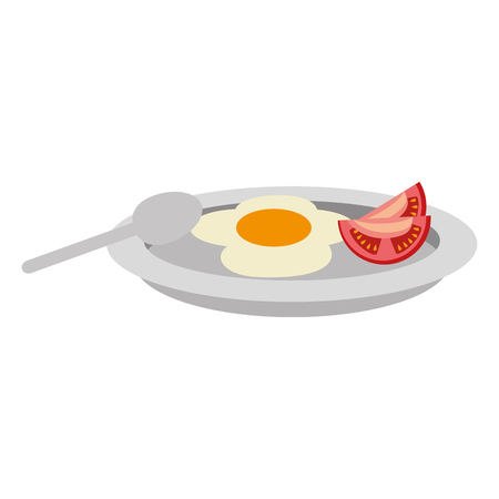 dish with egg fried and tomato vector illustration design